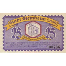Steinheim Stadt, 1x25pf, 1x50pf, 1x1mk, Set of 3 Notes, 1263.1a