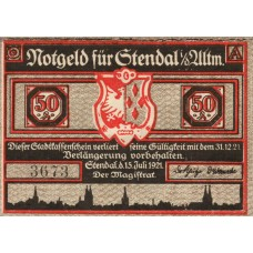 Stendal Stadt, 7x50pf, Set of 7 Notes with matched SN, 1267.1