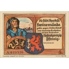 Swinemünde Städtische Sparkasse, 1x25pf, 1x50pf, 1x75pf, 1x1mk, Set of 4 Notes, 1306.1b