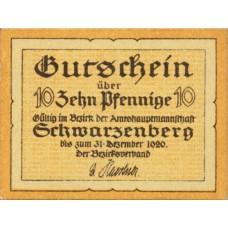 Schwarzenberg Amtshauptmannschaft, 1x10pf, 1x25pf, 1x50pf, Set of 3 Notes, S58.4