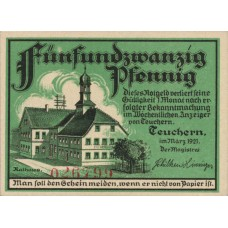 Teuchern Stadt, 1x25pf, 1x50pf, Set of 2 Notes, 1317.1a