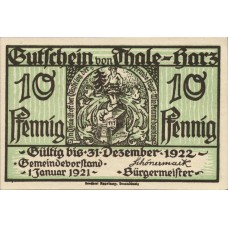 Thale a.Harz Stadt, 1x10pf, Set of 1 Note, 1320.1