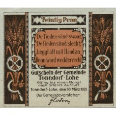 Tonndorf-Lohe Gemeinde, 1x20pf, 1x30pf, 1x50pf, 1x1mk, 1x2mk, Set of 5 Notes, 1330.1a
