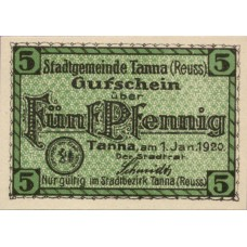 Tanna Stadt, 1x5pf, 1x10pf, 1x50pf, Set of 3 Notes, T3.6a