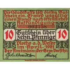 Vlotho Stadt, 1x10pf, 1x25pf, 1x50pf, Set of 3 Notes, 1366.1a