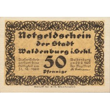 Waldenburg Stadt, 1x50pf, Set of 1 Note, 1371.7