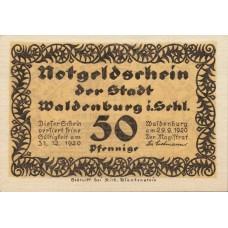 Waldenburg Stadt, 1x50pf, Set of 1 Note, 1371.7