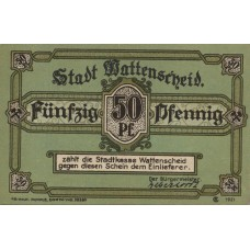 Wattenscheid Stadt, 1x50pf, 1x1mk, 1x2mk, 1x3mk, Set of 4 Notes, 1385.1