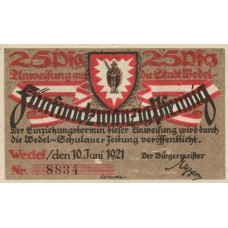 Wedel Stadt, 1x25pf, 1x50pf, 1x1mk, Set of 3 Notes, 1387.1a
