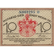 Weida Stadt, 1x10pf, 1x25pf, 1x50pf, Set of 3 Notes, 1391.1