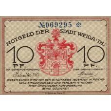 Weida Stadt, 1x10pf, 1x25pf, 1x50pf, Set of 3 Notes, 1391.1