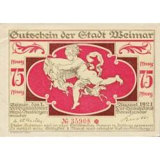 Weimar Stadt, 3x75pf, Set of 3 Notes, 1398.7