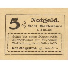 Waldenburg Stadt, 2x5pf, Set of 2 Notes, W3.18