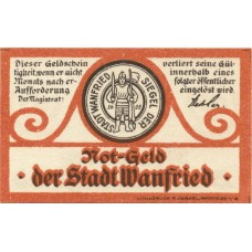 Wanfried Stadt, 1x5pf, 1x10pf, 1x50pf, Set of 3 Notes, W9.1a