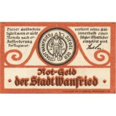 Wanfried Stadt, 1x5pf, 1x10pf, 1x50pf, Set of 3 Notes, W9.1a
