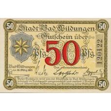 Wildungen, Bad Stadt, 1x50pf, Set of 1 Note, W43.6