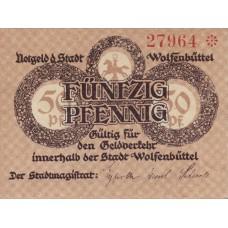 Wolfenbüttel Stadt, 1x50pf, Set of 1 Note, W57.1