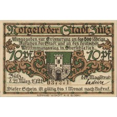 Zülz Stadt, 1x10pf, 1x25pf, 1x50pf, Set of 3 Notes, 1477.1a