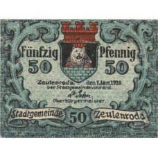 Zeulenroda Stadt, 1x50pf, Set of 1 Note, Z8.9