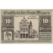 Meppen Stadt, 1x10pf, 1x25pf, 1x50pf, Set of 3 Notes, 883.1