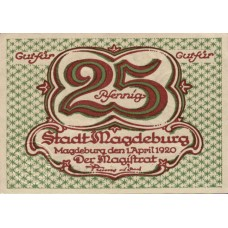 Magdeburg Stadt, 2x25pf, Set of 2 Notes, M2.6
