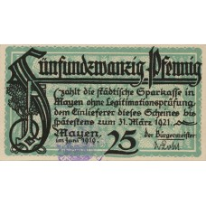 Mayen Stadt, 1x25pf, 1x50pf, Set of 2 Notes, M20.1a and M20.1d