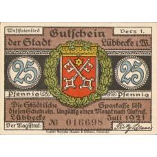 Lübbecke Stadt, 1x25pf, 1x50pf, 1x1mk, 1x2mk, Set of 4 Notes, 819.2a
