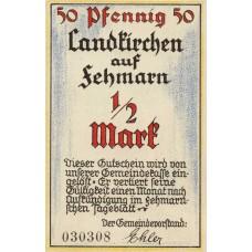 Landkirchen auf Fehmarn Gemeinde, 1x1/2mk, 1x1mk, Set of 2 Notes, 761.1