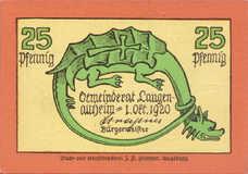 Langenaltheim Gemeinde, 25pf, 50pf, 1mk, Set of 3 Notes, 766.5