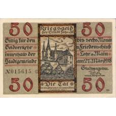 Lohr a.M. Stadt, 1x50pf, Set of 1 Notes, L63.1
