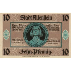 Allenstein Stadt, 1x10pf, 1x50pf, Set of 2 Notes, 13.1a