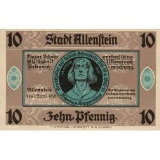 Allenstein Stadt, 1x10pf, 1x50pf, Set of 2 Notes, 13.1a