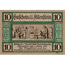 Allenstein Stadt, 1x10pf, 1x50pf, Set of 2 Notes, 13.2a