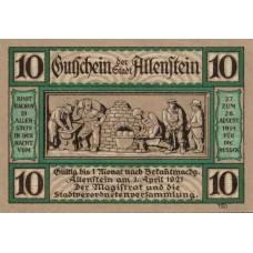 Allenstein Stadt, 1x10pf, 1x50pf, Set of 2 Notes, 13.2a