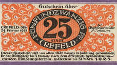 Crefeld Stadt, 1x25pf, 1x50pf, Set of 2 Notes, 246.1a