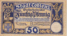 Coblenz Stadt, 1x50pf, Set of 1 Note, C19.5