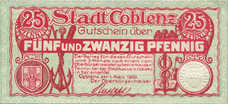 Coblenz Stadt, 1x10pf, Set of 1 Note, C19.7