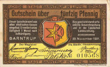 Barntrup Stadt, 2x50pf, 2x1mk, Set of 4 Notes, 66.1/66.2