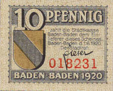 Baden Baden Stadt, 1x10pf, Set of 1 Note, B3.2