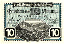 Berneck im Fichtelgebirge Stadt, 1x10pf, 1x25pf, 1x50pf, Set of 3 Notes, B34.8