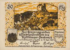 Frankenhausen am Kyffhäuser Städtische Sparkasse, 6x50pf, Set of 6 Notes, 373.1b