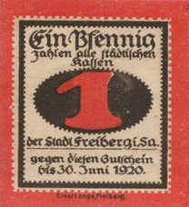 Freiberg Stadt, 1x1pf, 1x2pf, Set of 2 Notes, F19.6b