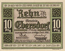 Ebersdorf Gemeinde, 1x10pf, 1x25pf, 1x50pf, Set of 3 Notes, 302.1