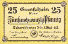 Eckartsberga Thür. Stadt, 1x25pf, 1x50pf, Set of 2 Notes, 305.2