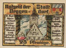 Deggendorf Stadt, 1x25pf, 1x50pf, Set of 2 Notes, D8.5b