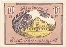 Fürstenberg in Meckl Stadt, 1x10pf, 1x25pf, 1x50pf, Set of 3 Notes, 402.15