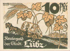 Lübz Stadt, 1x10pf, 1x25pf, 1x50pf, Set of 3 Notes, 835.1