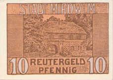 Mirow Stadt, 1x10pf, 1x25pf, 1x50pf, Set of 3 Notes, 889.1