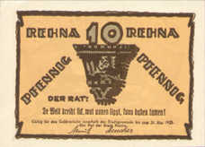 Rehna Stadt, 1x10pf, 1x25pf, 1x50pf, Set of 3 Notes, 1109.2