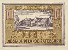 Schönberg Stadt, 1x10pf, 1x25pf, 1x50pf, Set of 3 Notes, 1195.2